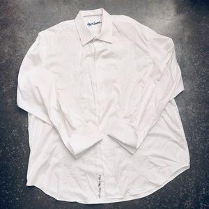 Men's Robert Graham White Embroidered Tuxedo Shirt